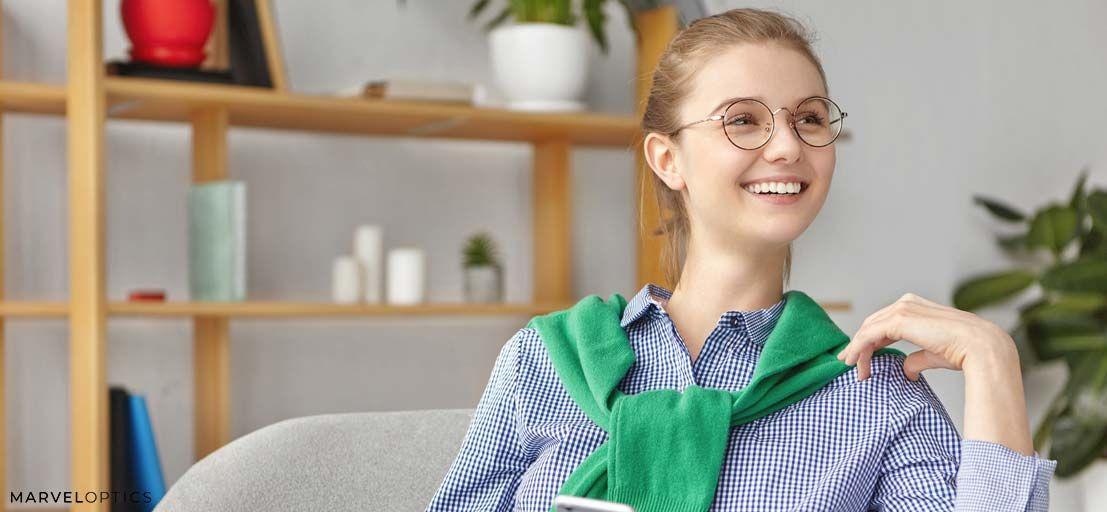 woman wearing prescription eyeglasses