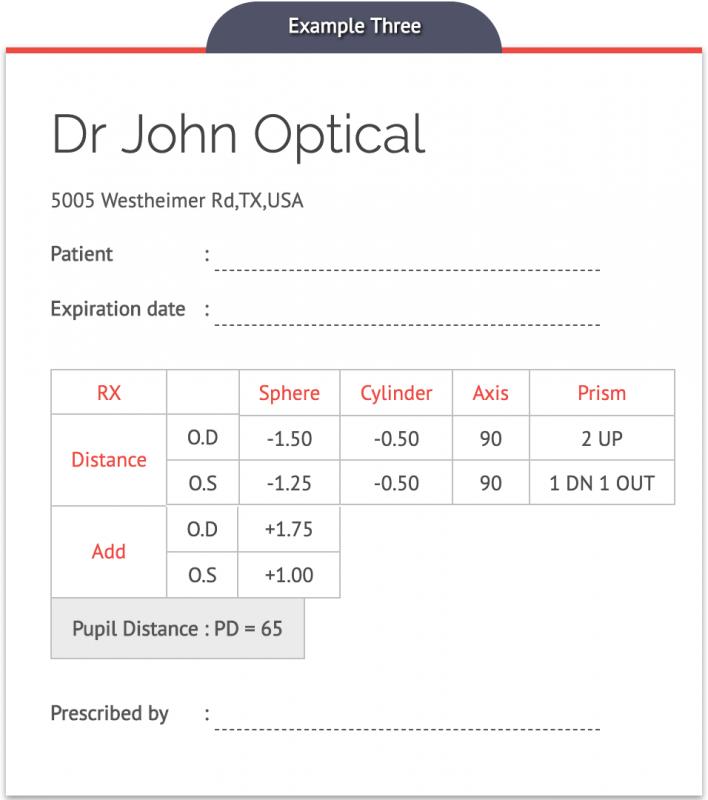 Eyeglasses Prescription Card Example