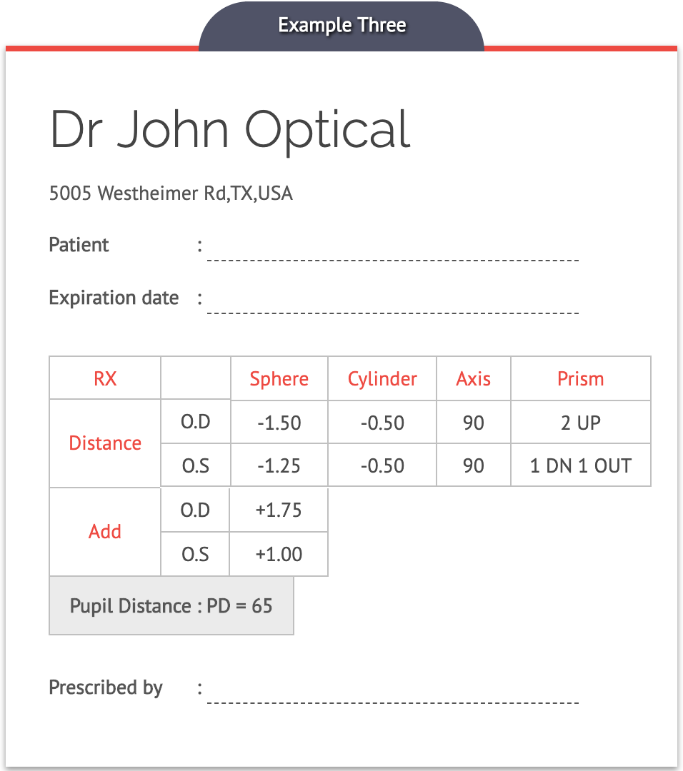 Eyeglasses Prescription Card Example