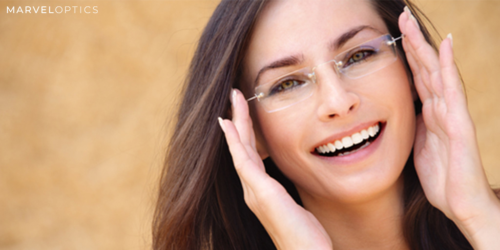Woman wearing rimless glasses