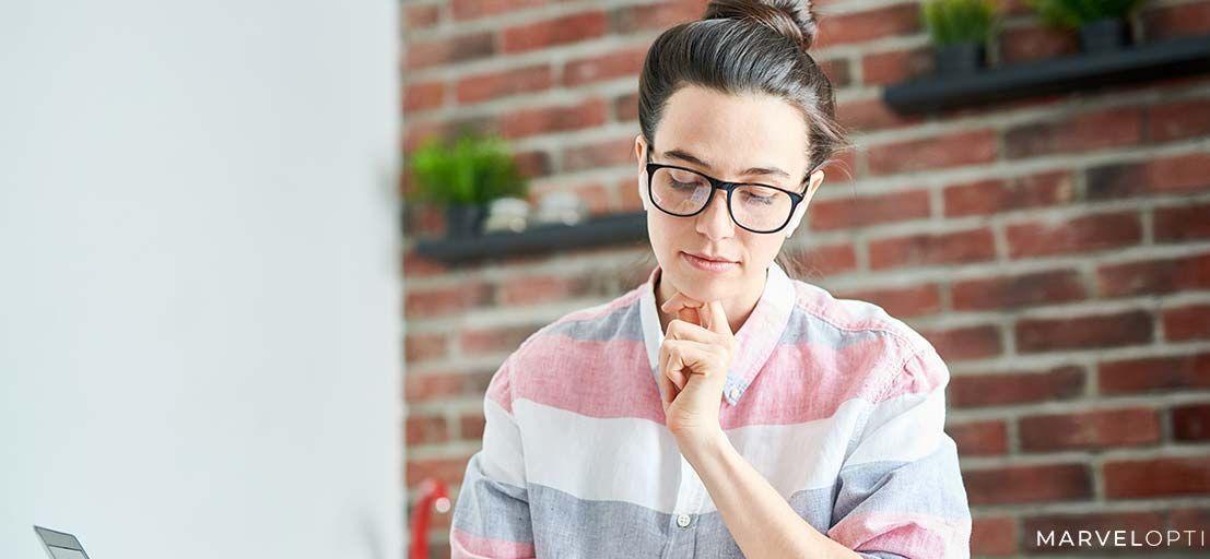 Woman wearing prescription safety glasses