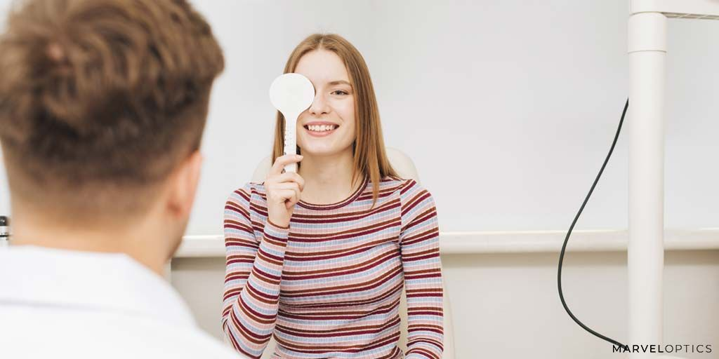 Woman testing her vision