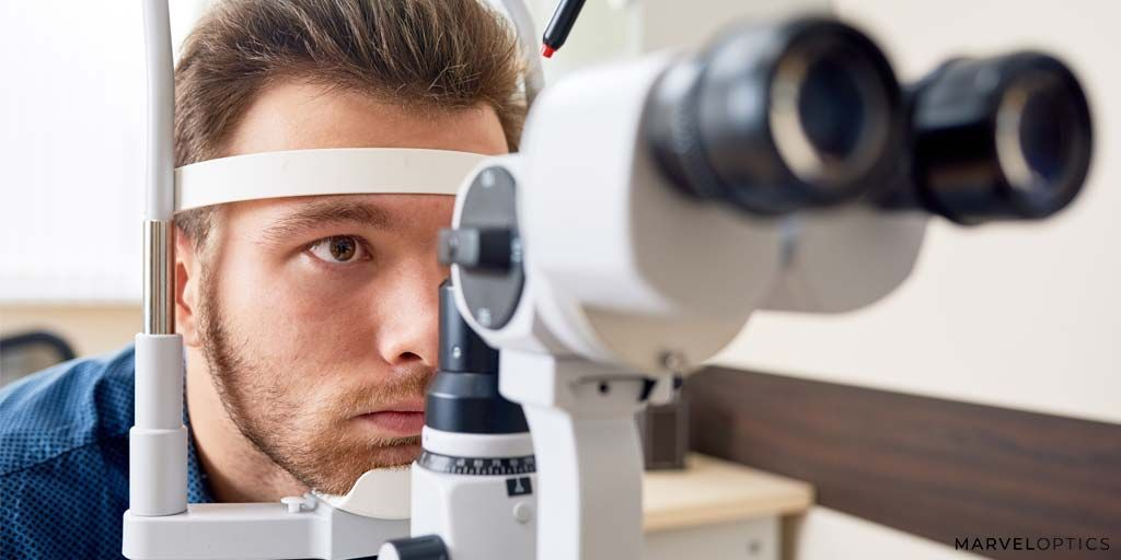 Man checking his vision on the machine