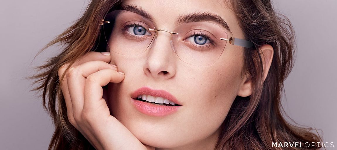woman wearing rimless glasses