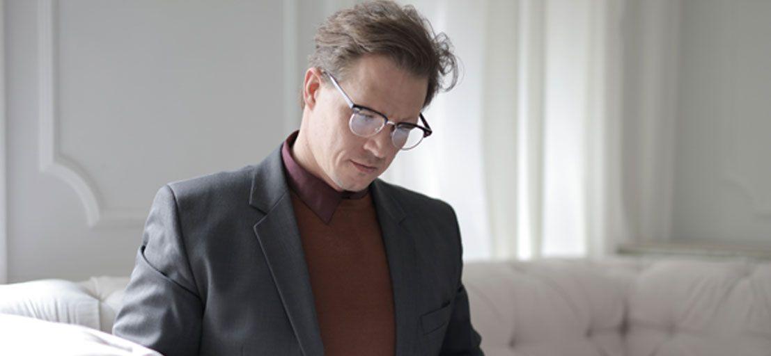 Man Wearing Bifocal Glasses