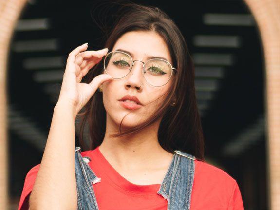 Woman Wearing Prescription Glasses